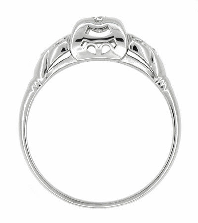 Art Deco Antique Leaves Filigree Diamond Illusion Engagement Ring in 14K White Gold - Item: R217 - Image: 1