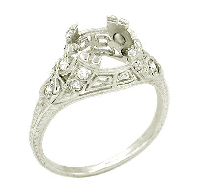 Vintage Art Deco Filigree Greek Key 1.5 Carat Platinum Engagement Ring Mounting - Item: R186 - Image: 1