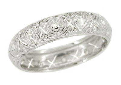 Vintage Art Deco Volunton Eternity Diamond Band - Platinum Size 6