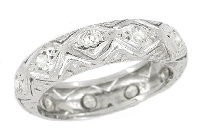 Art Deco Ledyard Antique Diamond Wedding Band in Platinum - Size 6 1/4