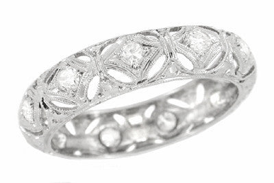 Art Deco Ponset Antique Platinum Filigree Diamond Wedding Ring - Size 6.25