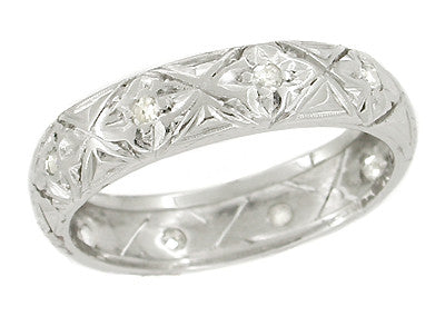 Art Deco Rowayton Clover Antique Diamond Wedding Band - Platinum - Size 7