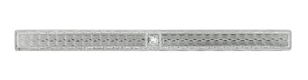 1930's Estate Art Deco Diamond Engraved Bar Brooch in 14 Karat White Gold