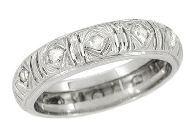 Zoar 1920's Art Deco Platinum Estate Single Cut Diamond Wedding Band