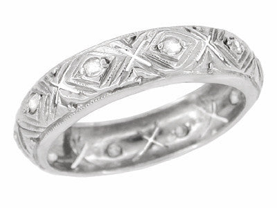 Art Deco Cromwell Diamond Vintage Wedding Band in 18K White Gold - Size 6