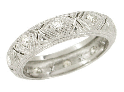 Tolles Art Deco Platinum Vintage X Kiss Filigree Diamond Wedding Band - Size 6.25