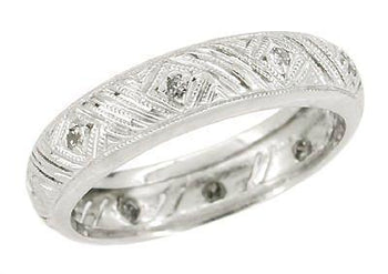 Montowese Vintage Art Deco Gray Diamonds Wedding Band - 18K White Gold - Size 6.5