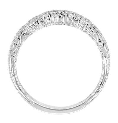 Art Deco Scalloped Engraved Contoured Diamond Wedding Band in Platinum - Item: R225 - Image: 1