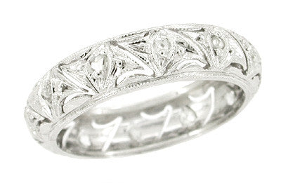 Bozrah Art Deco Diamond Antique Wedding Band - Platinum - Size 5.5