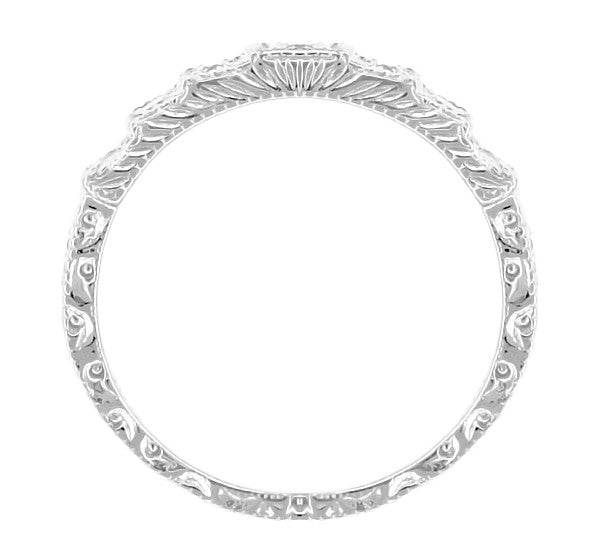 Art Deco Engraved Tiered Diamond Wedding Band in 18 Karat White Gold - Item: DWR135 - Image: 2