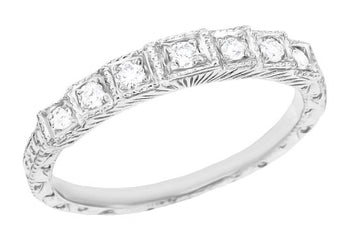 Art Deco Engraved Tiered Diamond Wedding Band in White Gold