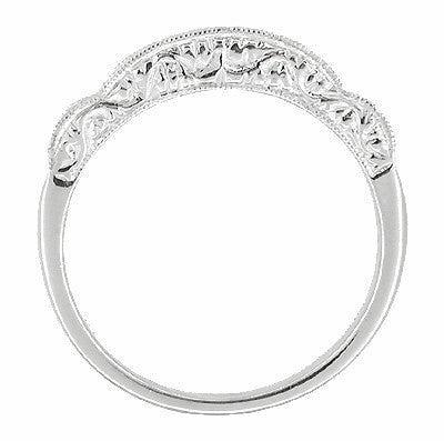 Art Deco Diamond Scroll Carved Wedding Band in Platinum - Item: R253 - Image: 1