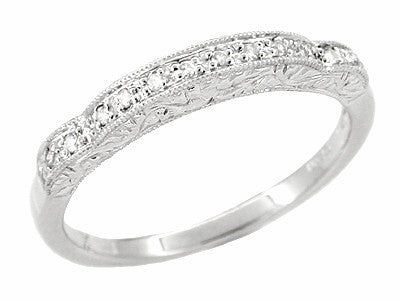 Art Deco Diamond Scroll Carved Wedding Band in Platinum