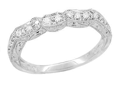 Art Deco Rolling Scrolls Scallop Design Diamond Wedding Band in Platinum