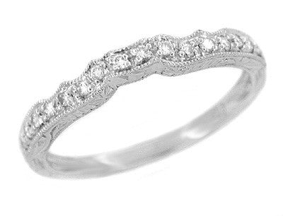 Art Deco Scalloped Engraved Contoured Diamond Wedding Band in Platinum