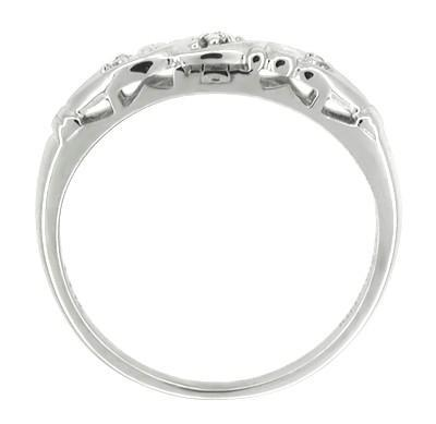 Estate Art Deco Diamond Filigree Wedding Ring in 14 Karat White Gold - Item: R213 - Image: 1