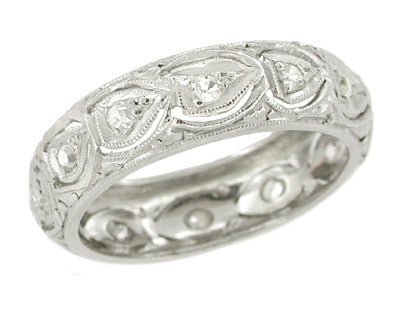 Wilton Art Deco Scalloped Filigree Vintage Diamond Wedding Ring in Platinum - Size 4 3/4