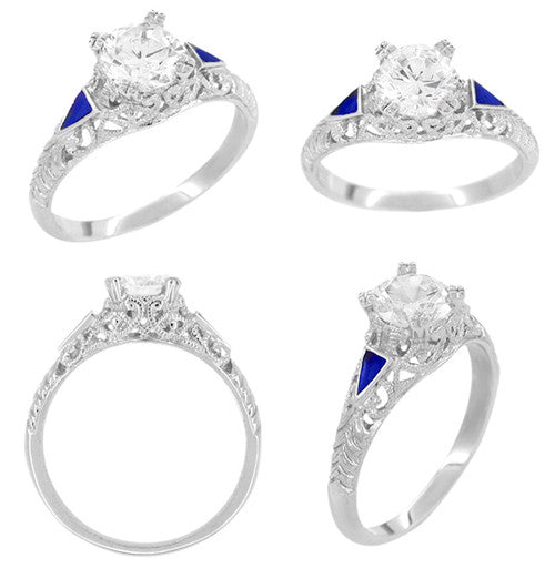 Art Deco 3/4 - 1 Carat Filigree Engagement Ring Setting in 14 Karat White Gold with Blue Sapphire Side Stones - Item: R237 - Image: 2
