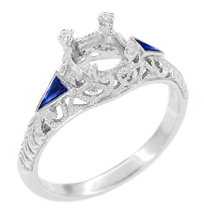 Art Deco 3/4 - 1 Carat Filigree Engagement Ring Setting in 14 Karat White Gold with Blue Sapphire Side Stones