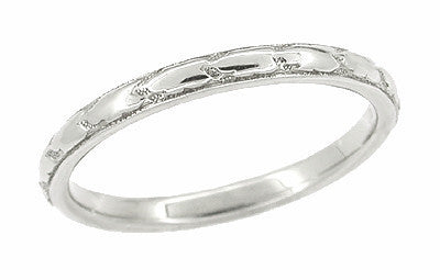 Art Deco 1930's Engraved Band Antique Wedding Ring in 18 Karat White Gold
