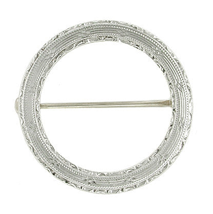 Vintage Art Deco Engraved Circle Brooch in 14 Karat White Gold