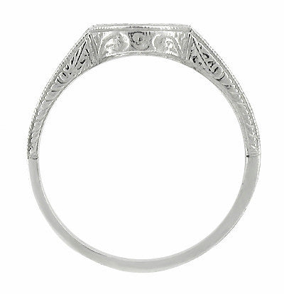 Antique Art Deco Carved Wheat and Scrolls Curved Wedding Band in Platinum - Item: R222 - Image: 1