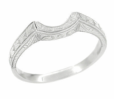 Antique Art Deco Carved Wheat and Scrolls Curved Wedding Band in Platinum