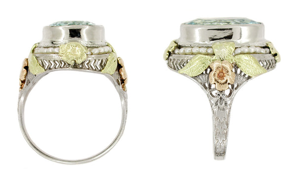 Art Deco Filigree Aquamarine Estate Ring Framed with Seed Pearls in 14 Karat Tricolor Gold - Item: R131 - Image: 1