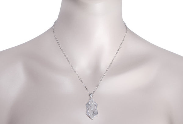 Art Deco Filigree Crystal and Diamond Pendant Necklace in Sterling Silver - Item: N122 - Image: 2