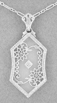 Art Deco Floral Filigree Camphor Crystal and Diamond Pendant Necklace in Sterling Silver