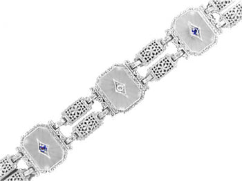 Art Deco Filigree Sun Ray Crystal Bracelet with Sapphires and Zircon in Sterling Silver