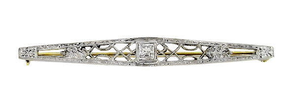 Art Deco Filigree Diamond Set Bar Brooch in 10 Karat White and Yellow Gold