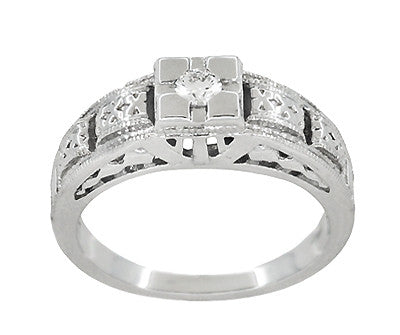 Art Deco Carved Filigree Diamond Engagement Ring in Platinum - Item: R160P - Image: 2
