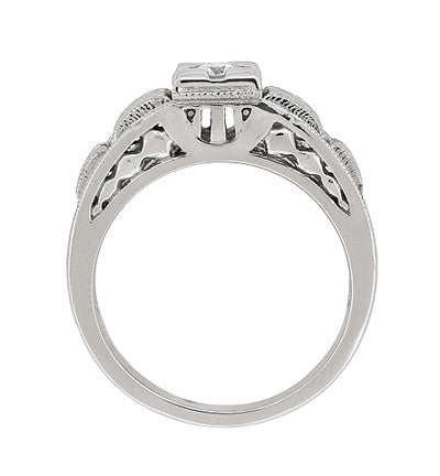 Art Deco Carved Filigree Diamond Engagement Ring in Platinum - Item: R160P - Image: 4