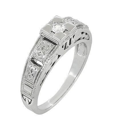 Art Deco Carved Filigree Diamond Engagement Ring in Platinum - Item: R160P - Image: 1