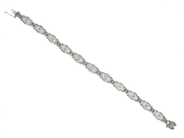 Art Deco Sunburst Filigree Diamond Bracelet in Sterling Silver - Item: SSBR6 - Image: 1