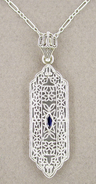 Art Deco Filigree Sapphire Set Pendant Necklace in Sterling Silver