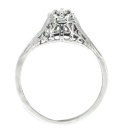 Art Deco Filigree Petite Diamond Ring in 14 Karat White Gold - Item: R204 - Image: 1