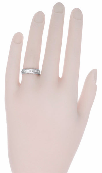 Art Deco Sculptural Floral Wedding Ring in White Gold - 5mm Wide - Item: R238W14 - Image: 1