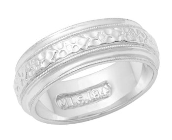 Victorian Leaves and Flowers 6mm Wide Wedding Band in 18 Karat White Gold