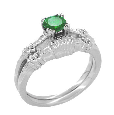 Art Deco Hearts and Clovers Emerald Engagement Ring in 14 Karat White Gold - Item: R163 - Image: 2