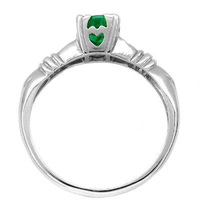 Art Deco Hearts and Clovers Emerald Engagement Ring in 14 Karat White Gold - Item: R163 - Image: 1