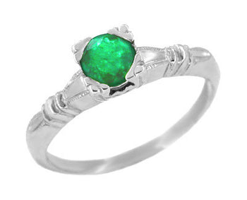 Art Deco Hearts and Clovers Emerald Engagement Ring in 14 Karat White Gold
