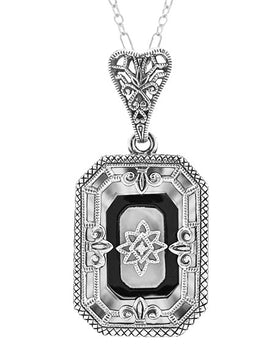 Art Deco Rectangular Onyx, Camphor Crystal and Diamond Filigree Necklace Pendant in Sterling Silver