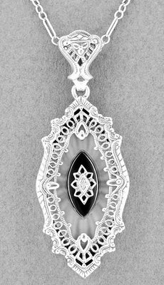 Art Deco Onyx, Camphor Crystal & Diamond Filigree Pendant Necklace in Sterling Silver