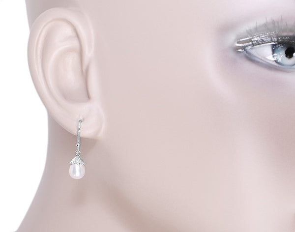 Art Deco Pearl Drop Earrings in 14 Karat White Gold - Item: E135 - Image: 2
