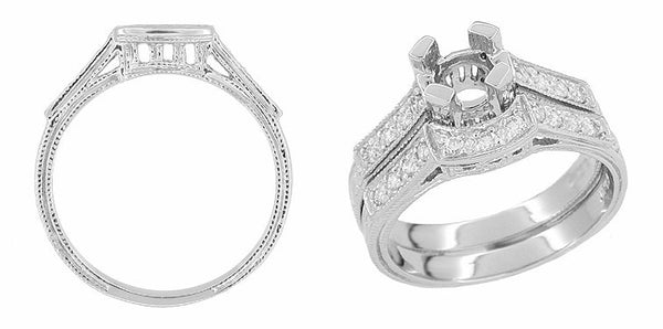 Art Deco Platinum and Diamond Filigree Carved Coordinating Wedding Ring - Item: WR240 - Image: 1