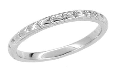 Art Deco Platinum Engraved Wheat Thin Wedding Band - Size 6