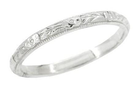 Art Deco Roses and Leaves Engraved Vintage Wedding Band in 14K White Gold