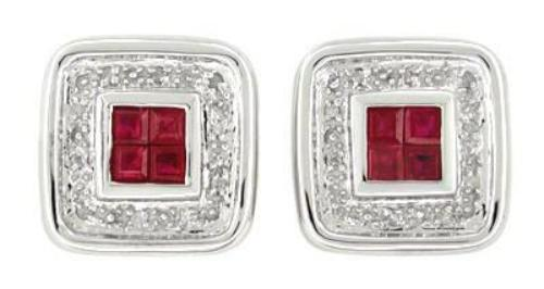 Art Deco Square Ruby and Diamond Earrings in 14 Karat White Gold